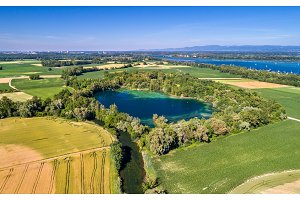 A lake near the Rhine in the south of Strasbourg - Grand Est, France