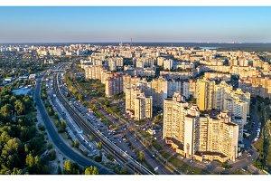 Birds eye view of Troieshchyna district of Kiev, Ukraine