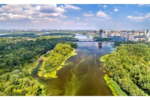 Aerial view of the Dnieper river in Kyiv, Ukraine