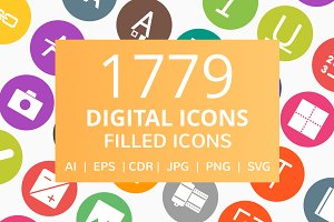 1779 Digital Filled Round Icons
