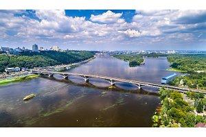 Aerial view of the Metro Bridge across the Dnieper river in Kiev, Ukraine