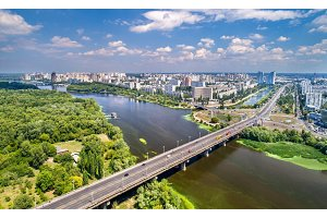 The Paton bridge and Rusanivka district of Kyiv, Ukraine