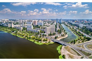 Aerial view of Rusanivka district of Kyiv, Ukraine