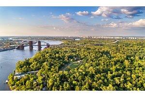 Aerial view of Trukhaniv Island on the Dnieper river in Kiev, Ukraine