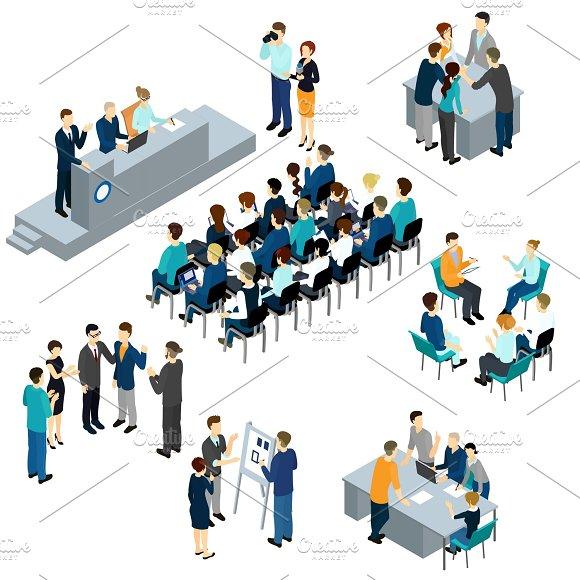 Isometric People Teamwork Set