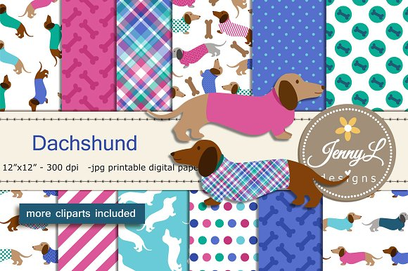 Dachshund Dog Digital Paper Clipart
