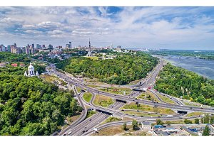 Aerial view of a turbine road interchange in Kiev, Ukraine