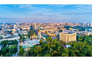 Aerial panorama of St. Michael Golden-Domed Monastery, Ministry of Foreign Affairs and Saint Sophia Cathedral in Kiev, Ukraine