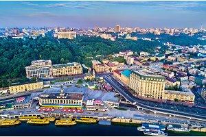 Aerial view of River Port, Podil and Postal Square in Kiev, Ukraine