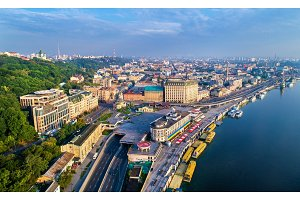 Aerial view of River Port, Podil and Postal Square in Kiev, Ukraine