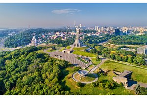 Aerial view of the Motherland Monument and the Second World War Museum in Kiev, Ukraine