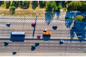 Aerial view of vehicles on Naberezhne Highway in Kiev, Ukraine