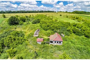 Abandoned house in Bolshoe Gorodkovo village. Kursk region of Russia