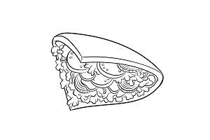 Doner kebab coloring book vector illustration