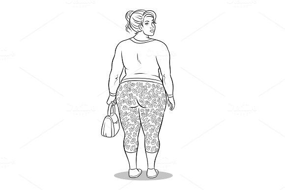 Fat Girl In Leopard Leggings Coloring Book Vector