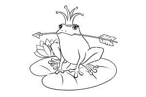 Princess Frog coloring book vector illustration