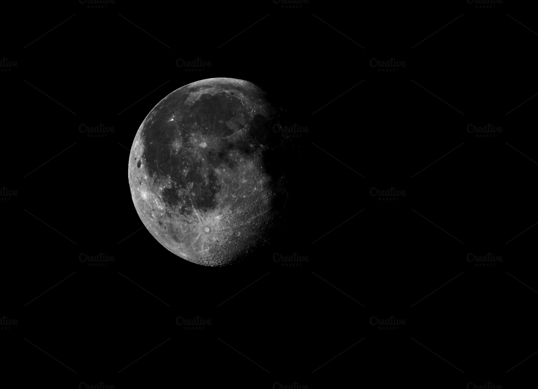 High Contrast Waning Gibbous Moon Photos Creative Market