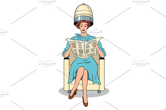 Woman With Hair Dryer Pop Art Vector