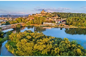 View of Trencin with the Trencin castle above the Vah river in Slovakia