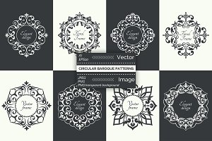 Vector circular baroque patterns