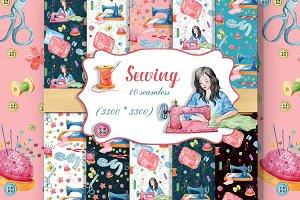 Sewing.seamless patterns