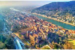 Aerial panorama of Heidelberg with the castle and the Neckar River. Germany