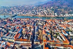 Aerial view of Heidelberg old town in Germany