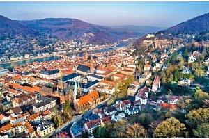 Aerial panorama of Heidelberg old town in Germany