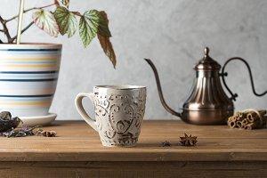 coffee in a copper coffee pot