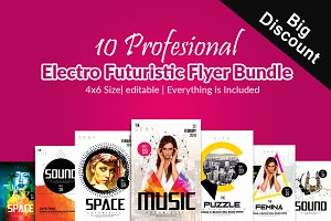 10 Electro Flyers Templates Bundle