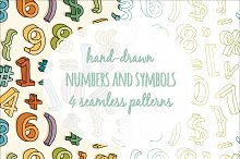 4 Numbers & Symbols Vector Patterns