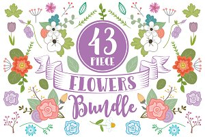 43 Piece Clip Art Flowers Bundle