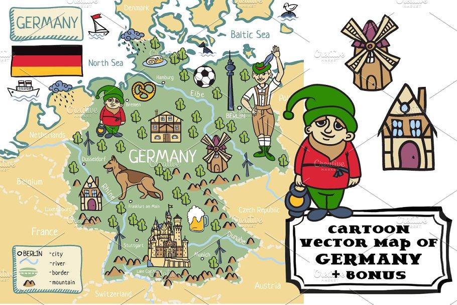 Cartoon map of Germany ~ Illustrations ~ Creative Market