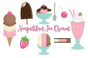 Clip Art Vector Neapolitan Ice Cream