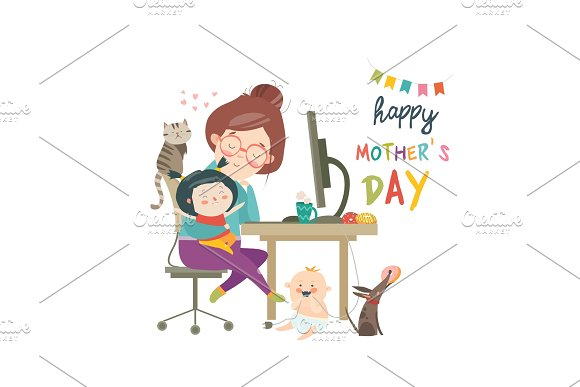 Working At Home Mother Freelancer With Two Kids