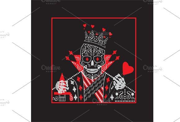 King Heart Skull Icon Vector