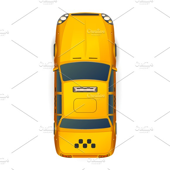 Top View Of Bright Yellow Taxi Car
