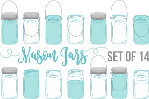 Vector Vintage Mason Ball Jars Set