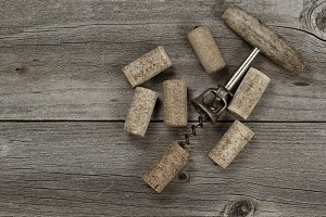 Rustic Wine Opener with corks