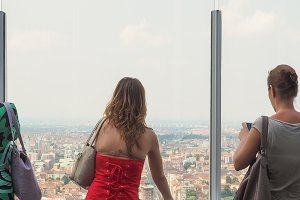 Women looking from panoramic viewpoint