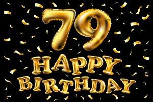 happy birthday 79 balloons gold