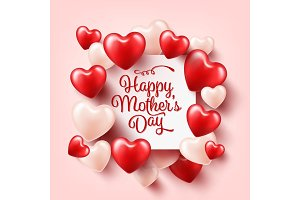 Mothers day background with red hearts. Greeting card, template with lettering. Heart shaped. Holiday.