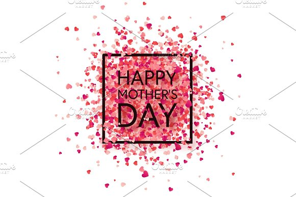 Mothers Day Background With Red Hearts Greeting Card Template With Lettering Heart Shaped Holiday