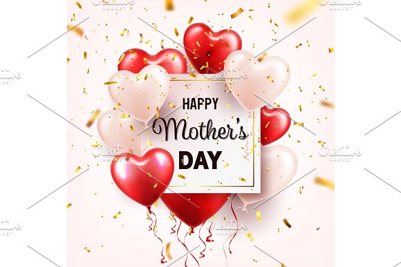 Mothers Day Background With Red Hearts Balloons And Confetti Greeting Card Template With Lettering.Heart Shaped Holiday