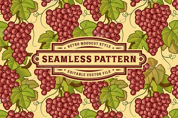 Seamless Grapes Pattern in Patterns
