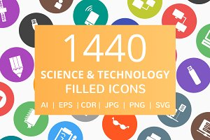 1440 Technology Filled Round Icons
