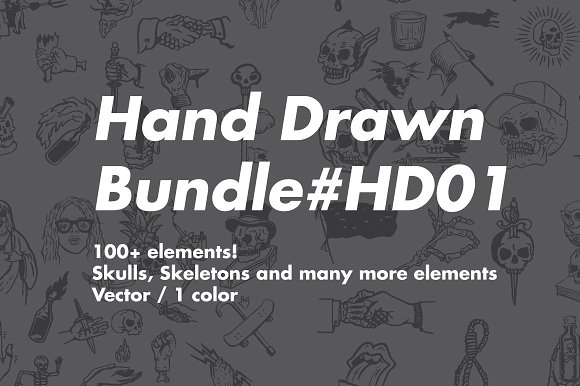 Hand Drawn SKULLS Bundle HD01
