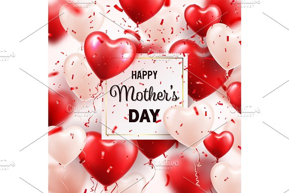 Mothers day background with red hearts balloons and confetti mothers day background with red hearts balloons and confetti greeting card template with letteringheart shaped holiday m4hsunfo
