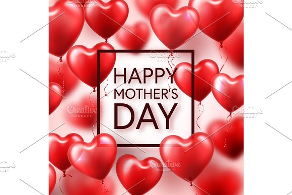 Mothers Day Background With Red Hearts Balloons Greeting Card Template With Lettering.Heart Shaped Holiday