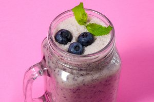 Blueberry smoothie with mint
